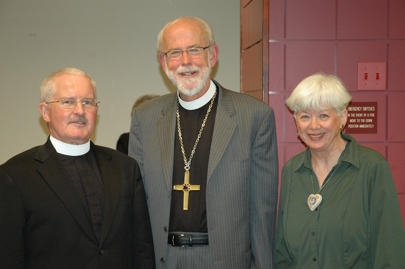 Presiding Bishop Mark S. Hanson with the Langseths, David and Carol