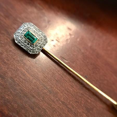 Art Deco Emerald and Diamond Pin, French