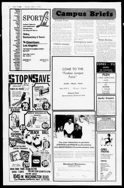 Daily Trojan, Vol. 66, No. 121, May 07, 1974