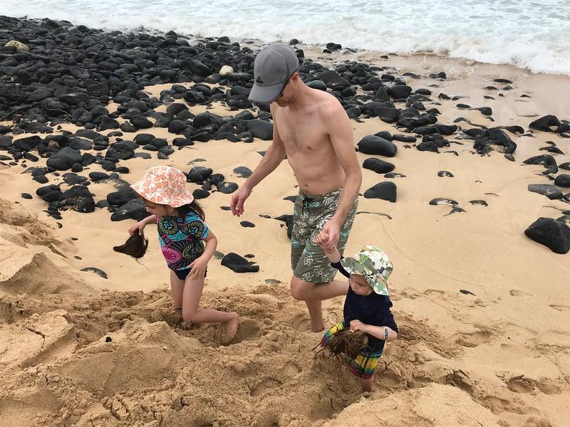 Malia, Shane & Finn at Poipu Beach