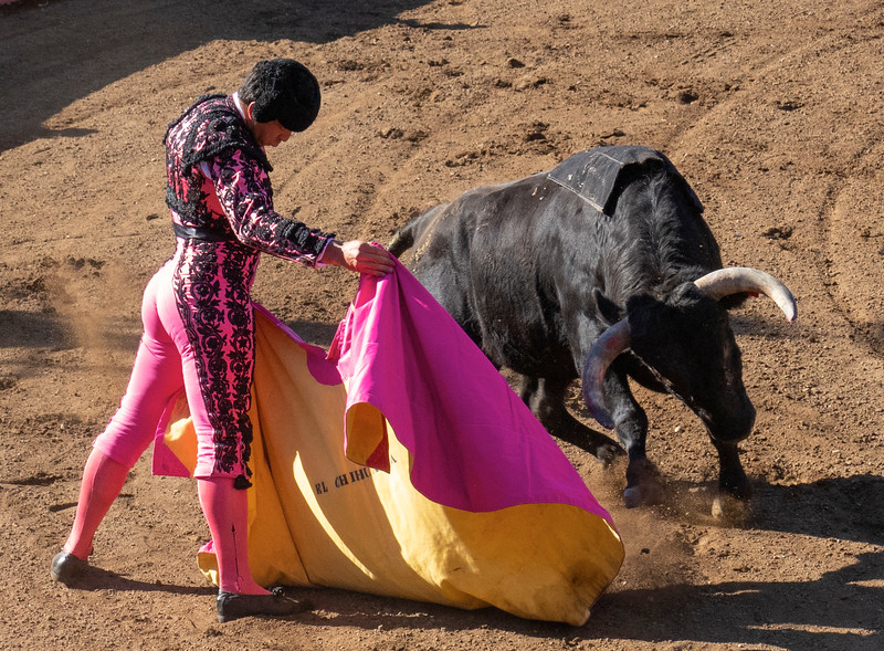 If you're badass enough to stand in front of charging bull, hot pink is perfectly acceptable.