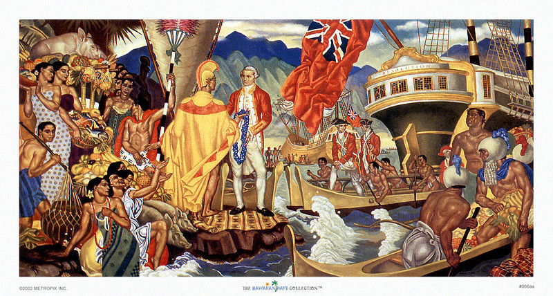 """066: Eugene Savage """"A God Appears""""  Eugene Savage was the artist who created several large murals for the Ocean Shipping Company that ended up as menu illustrations on board of the famouse ocean liners ss. Ocean Navigation Companyia and ss. Lurline, ca. 1948"""