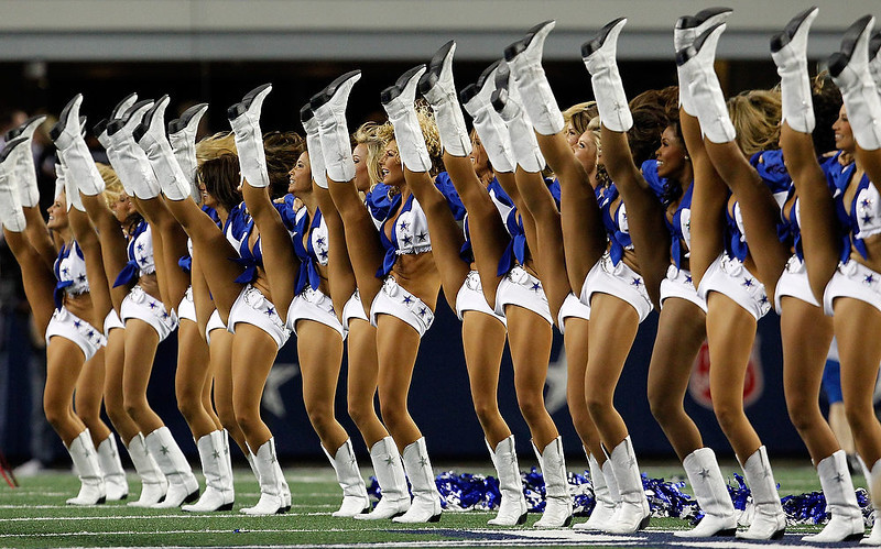 . The Dallas Cowboys Cheerleaders perform before the Dallas Cowboys take on the Philadelphia Eagles at Cowboys Stadium on December 2, 2012 in Arlington, Texas.  (Photo by Tom Pennington/Getty Images)