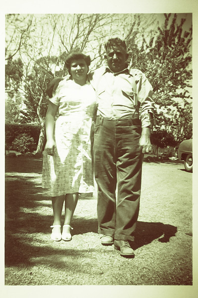 Maria Julia Sangiacomo and Vittorio Michele Sangiacomo. late 1930s. Front yard of ranch house.