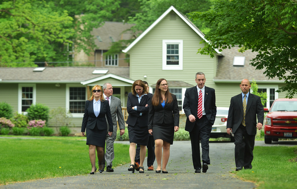 . Michael Allen Blair/MBlair@News-Herald.com Attorney\'s leave the Knoefel residence on Chagrin Dr. in Willoughby Hills after a jury view during Kevin Knoefel\'s conspiracy trial in Lake County Common Pleas Court on  June 2, 2014.