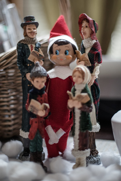 Our elf on the shelf Nobow sings Christmas carols