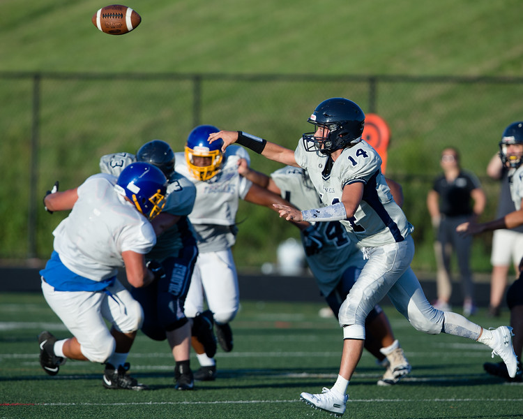 August 29, 2019 - The Magruder passing attack had early success in the scrimmage but Gaithersburg's defense tightened up in the second half to force a close game. Photo by Mike Clark/The Montgomery Sentinel