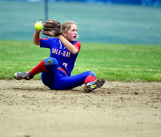 5/30/2019 Mike Orazzi | Staff Hale Ray's Jackie Parker (7) during a Class S Second Round softball game in Bristol Thursday with St. Paul.