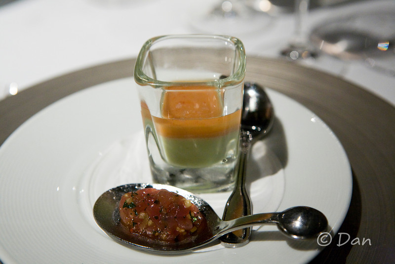 amuse bouche #2: tuna tartare and cucumber, mango, gel in a shot glass...very good.