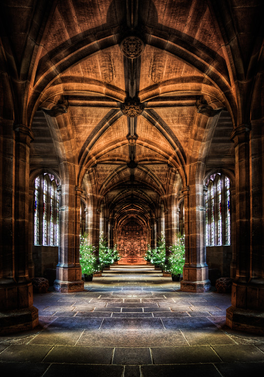The mirrored cloister in Chester Cathedral
