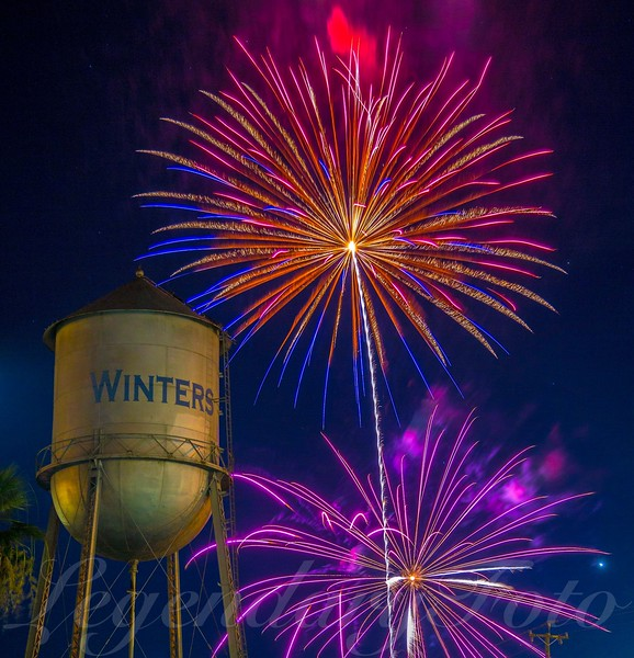 Winters Water Tower Fireworks July 4, 2015