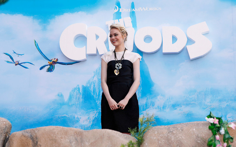 ". Cast member Emma Stone arrives for the premiere of the film ""The Croods\"" in New York, March 10, 2013.  REUTERS/Carlo Allegri"