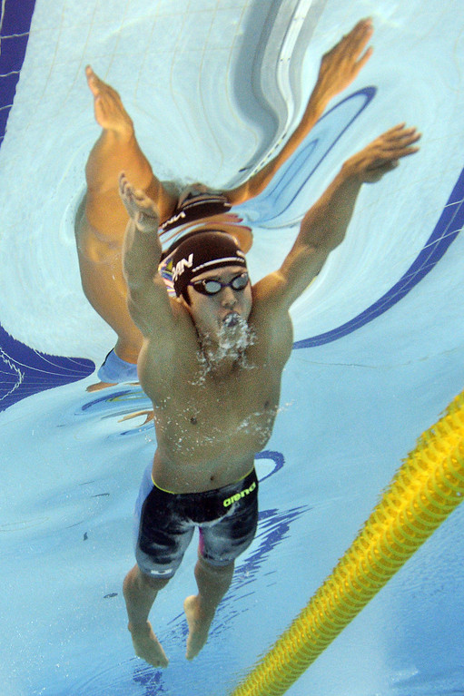 . In a picture taken with an underwater camera Japan\'s Kazuki Kohinata competes in the final of the men\'s 200m breaststroke swimming event during the 17th Asian Games at the Munhak Park Tae-hwan Aquatics Centre in Incheon on September 23, 2014.  MARTIN BUREAU/AFP/Getty Images