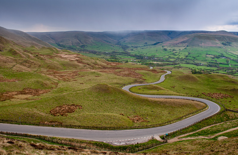 Winding Road over Peak District moors