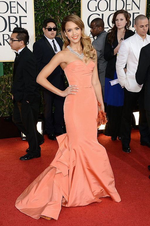 . Actress Jessica Alba arrives at the 70th Annual Golden Globe Awards held at The Beverly Hilton Hotel on January 13, 2013 in Beverly Hills, California.  (Photo by Jason Merritt/Getty Images)
