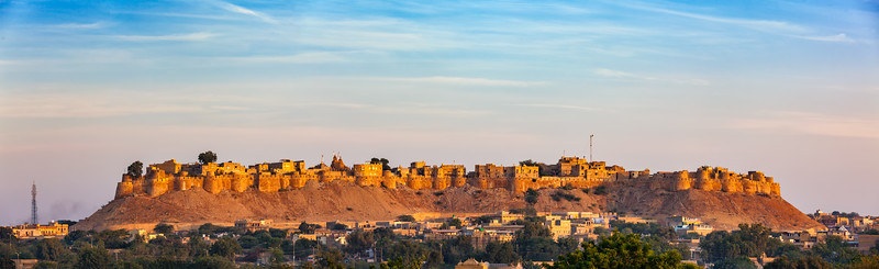 Panorama of Jaisalmer Fort known as the Golden Fort Sonar quila, Jaisalmer, India