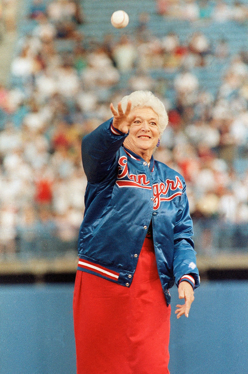 . First lady Barbara Bush throws out the first pitch before the start of the Texas Rangers game against the New York Yankees in Arlington, Texas, May 5, 1989. Mrs. Bush\'s son, George W. Bush, is an owner of the Texas Rangers. (AP Photo/Bill Janscha)
