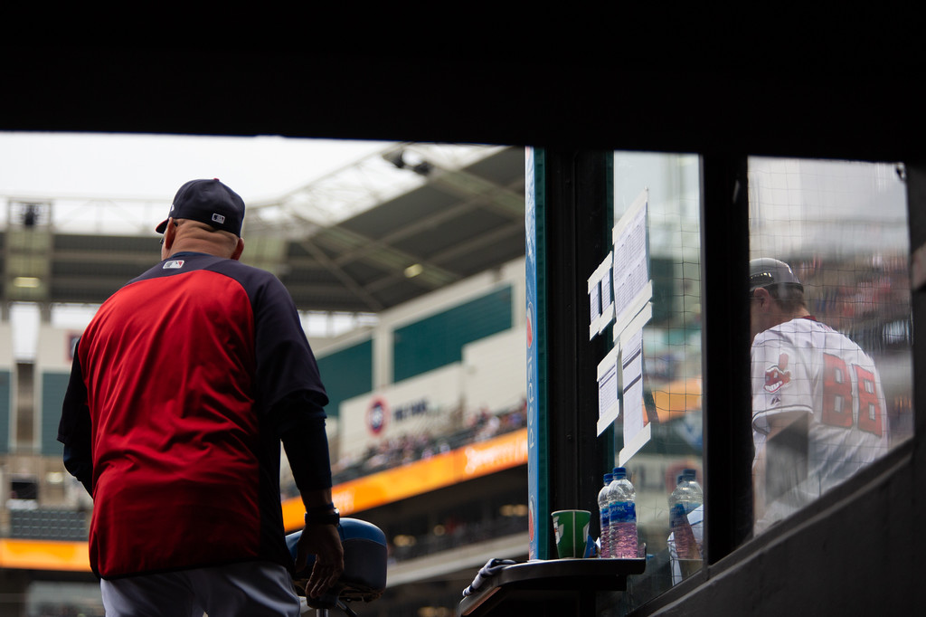 . Coach Terry Francona stands in the dugout during a regular season game against the Chicago White Sox at Progressive Field on June 20, 2018. The Indians defeated the Sox 12-0. (The Morning Journal/Michael Johnson)