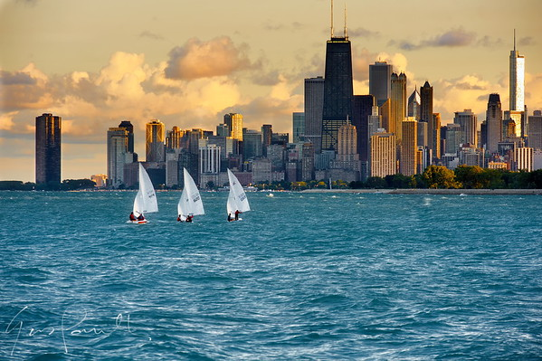 Montrose Harbor Sailboats Chicago