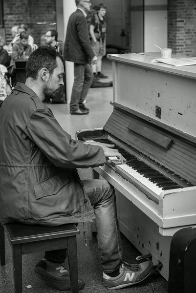 St Pancras Station Piano Player - Central London