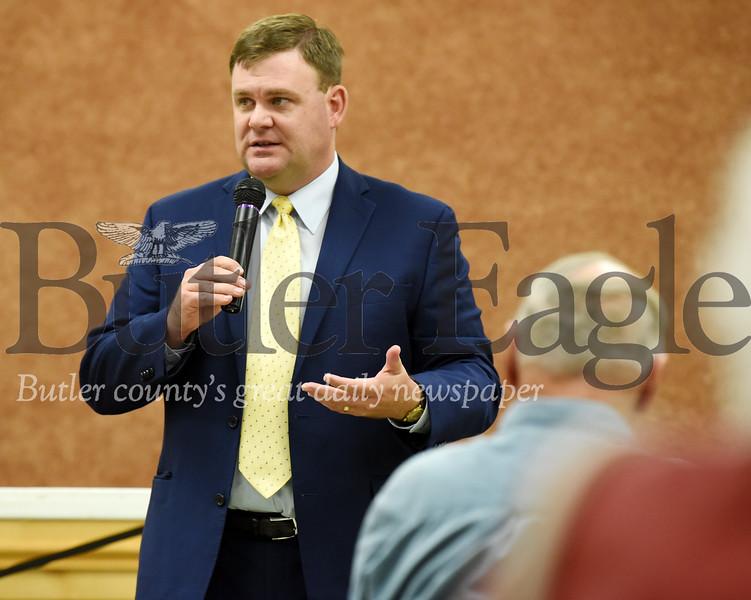 Harold Aughton/Butler Eagle: Senator Joe Pittman addresses the crowd in the Saxonburg Muesum's Copper Hall.