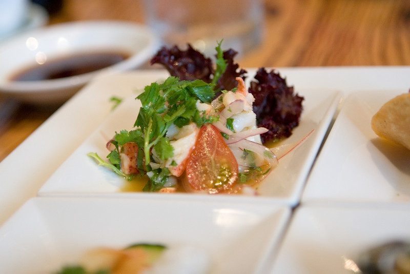 The lobster ceviche was excellent.  It had just the right tangy mix of lemon juice, red onions, mint, and lobster.