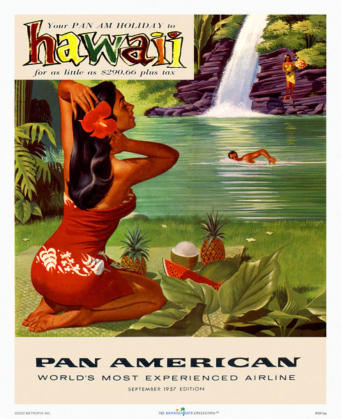 """387: Pan American Airline Hawaii brochure cover from the Forties, showing a sensual wahine making her toilet as her companions frolic near a waterfall. Typical Hawaiiana image with happy-go-lucky """"Hawaiian"""" people in paradise-like circumstances."""