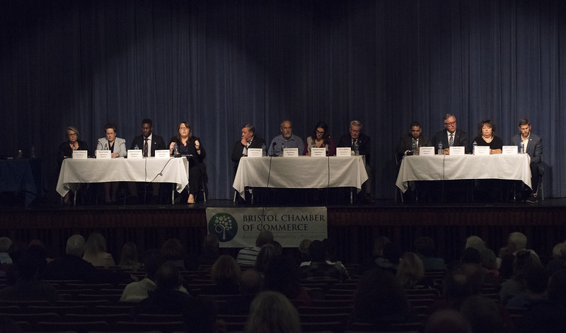 10/22/19  Wesley Bunnell | Staff  Candidates for mayor and City Council met on Tuesday night at St. Paul Catholic High School's Auditorium for a question and answer forum for council candidates followed by a mayoral debate.  All candidates sit at their districts table representing the three districts in Bristol.