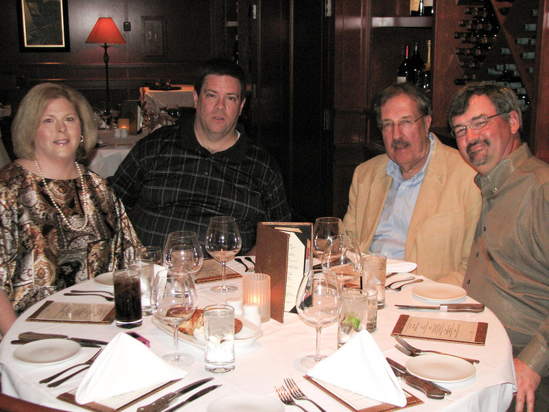 Howard's retirement dinner.  Ann & Bob Cottingham, Rick Sass, Mark Koehl.