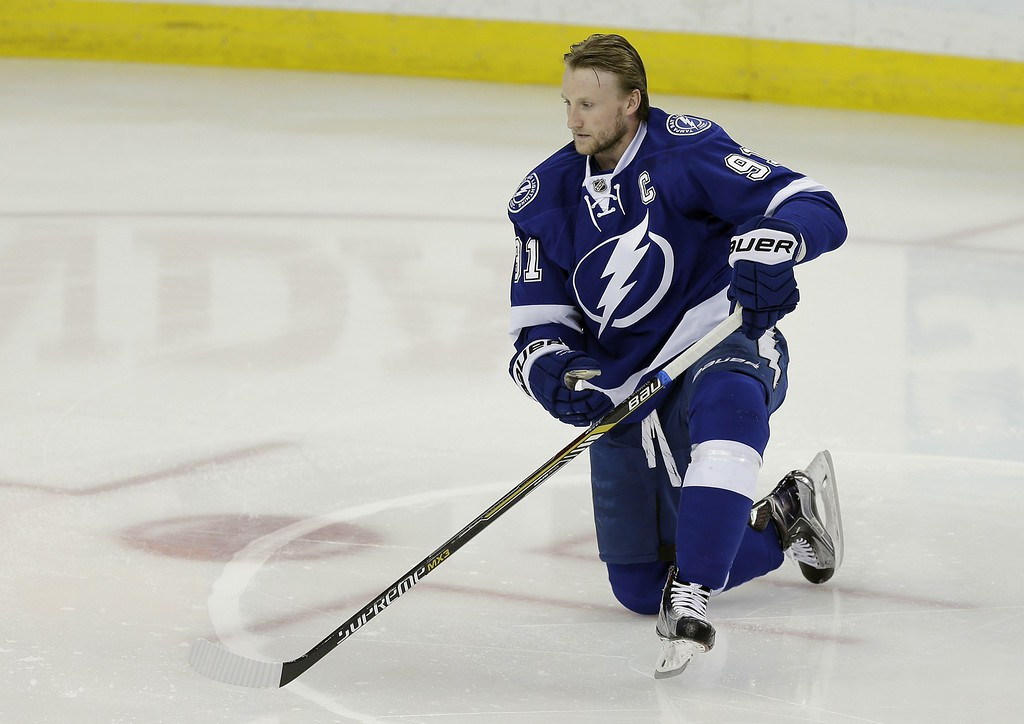 . Tampa Bay Lightning center Steven Stamkos (91) before Game 7 of a first-round NHL Stanley Cup hockey playoff series against the Detroit Red Wings Wednesday, April 29, 2015, in Tampa, Fla. (AP Photo/Chris O\'Meara)