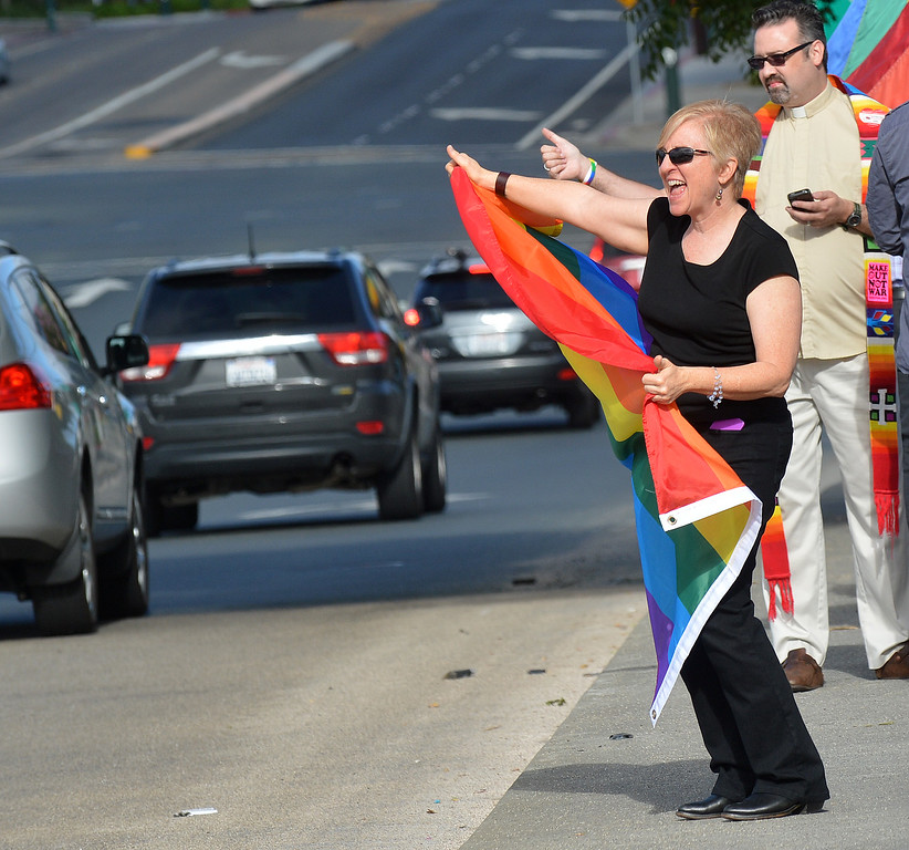 . Sherry Berman of Walnut Creek waves her rainbow flag as she celebrates the U.S. Supreme Court\'s decision on Proposition 8 on the Treat Boulevard overpass in Walnut Creek, Calif., on Wednesday, June 26, 2013. (Dan Rosenstrauch/Bay Area News Group)