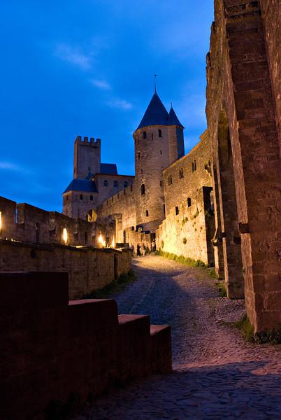 Carcassonne Cité at Night Carcassonne, France — June 2009