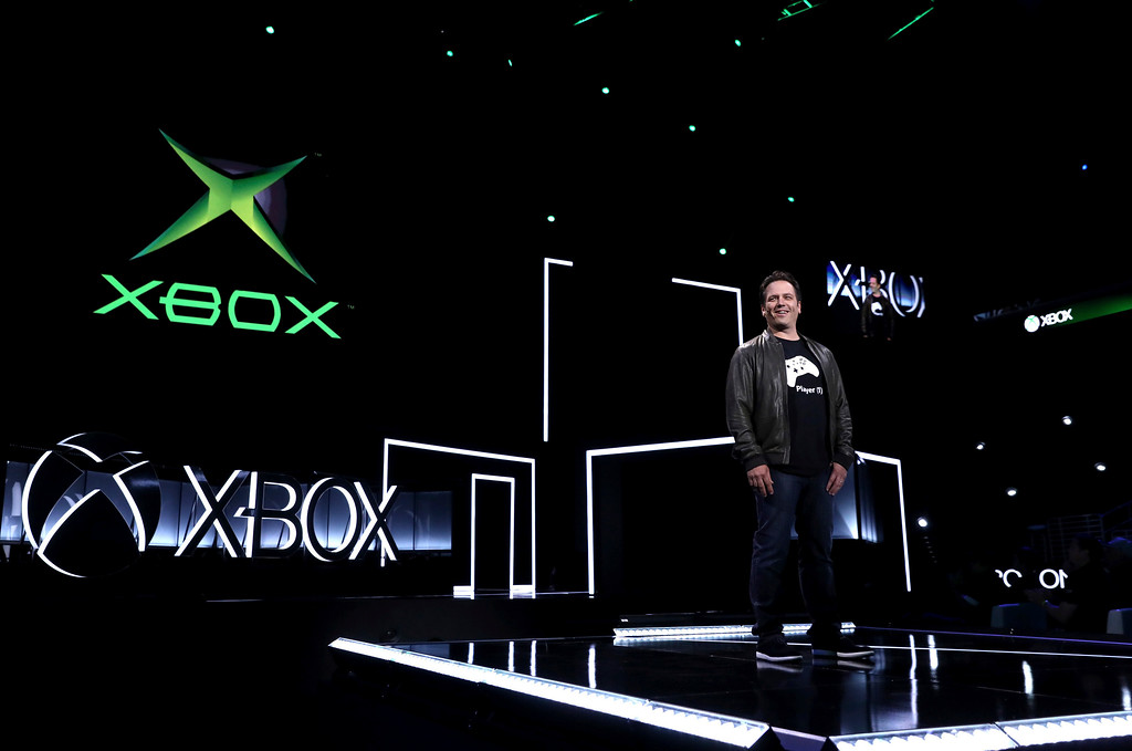 . IMAGE DISTRIBUTED FOR MICROSOFT - Phil Spencer, Head of Xbox, announces original Xbox Backward Compatibility at the Xbox E3 2017 Briefing on Sunday, June 11, 2017 in Los Angeles. (Photo by Matt Sayles/Invision for Microsoft/AP Images)