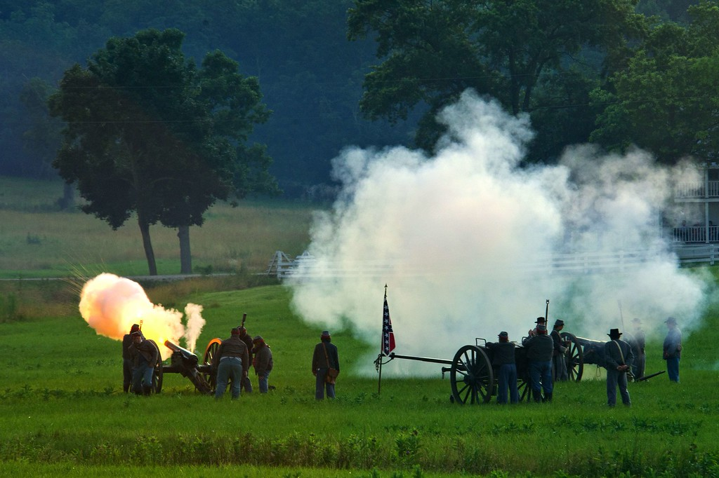 . Confederate artillerymen fire at Union positions during a re-enactment of the Battle of Gettysburg on June 29, 2013, at the start of the 150th Gettysburg celebration in Gettysburg, Pennsylvania. Over three days, more than 10,000 re-enactors will pay tribute to the battle that took place in Gettysburg on July 1-3, 1863, during the 1861-1865 US Civil War. KAREN BLEIER/AFP/Getty Images