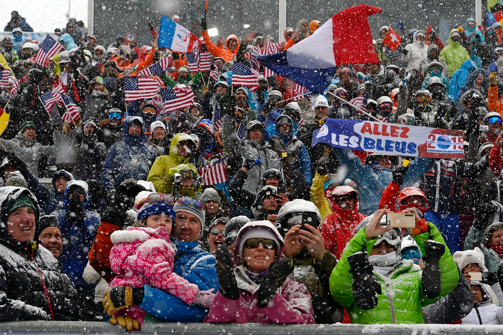 . BEAVER CREEK, CO - FEBRUARY 15: Spectators cheer for the French skier Jean Baptiste Grange as he finishes first in the Men\'s Slalom at the FIS Alpine World Ski Championships in Beaver Creek, CO on February 15, 2015. (Photo By Helen H. Richardson/The Denver Post)