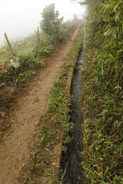 Terraced walking path with drainage on the uphill side.
