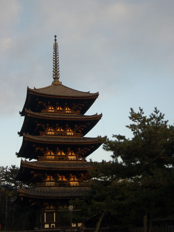 Five storied pagoda, Nara, at sunset.