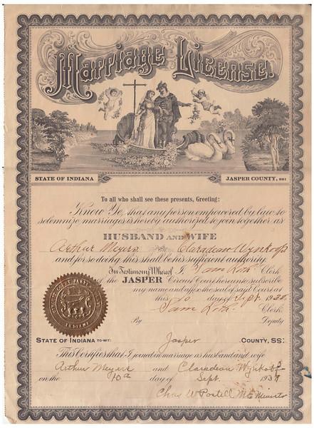 Marriage License - Arthur Meyers & Claradean Wynkoop - Sept. 10, 1938.jpg