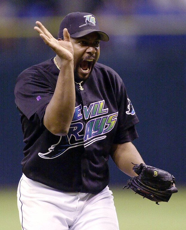 . ROBERTO HERNANDEZ -- Tampa Bay Devil Rays pitcher Roberto Hernandez waves goodbye to Boston Red Sox batter Trot Nixon after striking him out to end the game in the ninth inning on Sept. 29, 2000, at Tropicana Field in St. Petersburg, Fla.  (AP Photo/Chris O\'Meara)