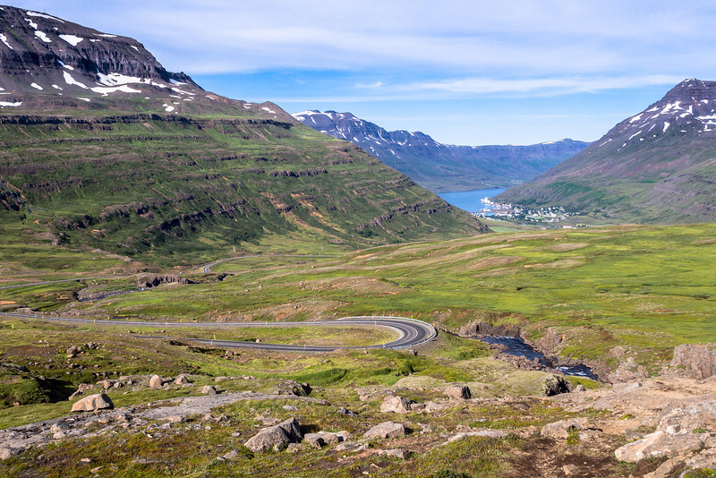 Heading down into the town of Seyðisfjörður located at the top of the fjord of the same name.