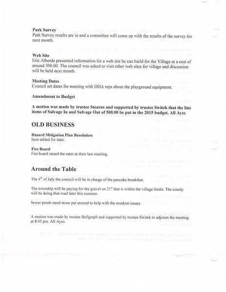April 2015 Meeting Minutes