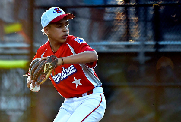 8/10/2019 Mike Orazzi | Staff New York-Haverstraw Little League's Gabriel Reyes (10) during Saturday's Mid Atlantic Final baseball game with New York at Breen Field in Bristol, Conn.
