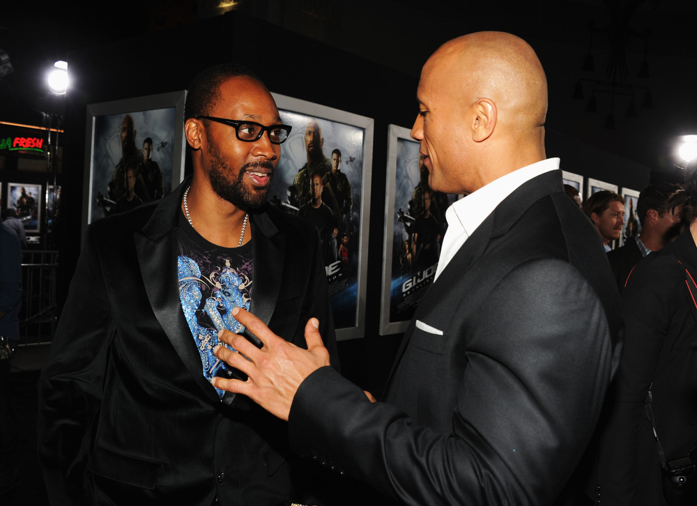 ". RZA and actor Dwayne Johnson attend the premiere of Paramount Pictures\' ""G.I. Joe:Retaliation\"" at TCL Chinese Theatre on March 28, 2013 in Hollywood, California.  (Photo by Kevin Winter/Getty Images)"