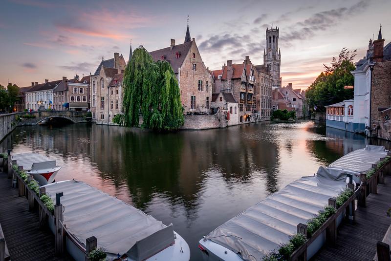 Sunset in Bruges, Belgium