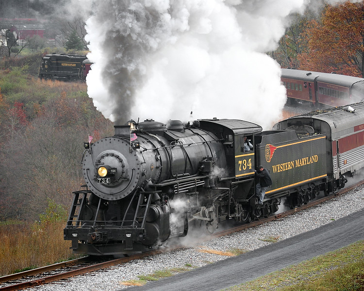 Steam engine with the diesel helper visible Western Maryland Scenic Railroad