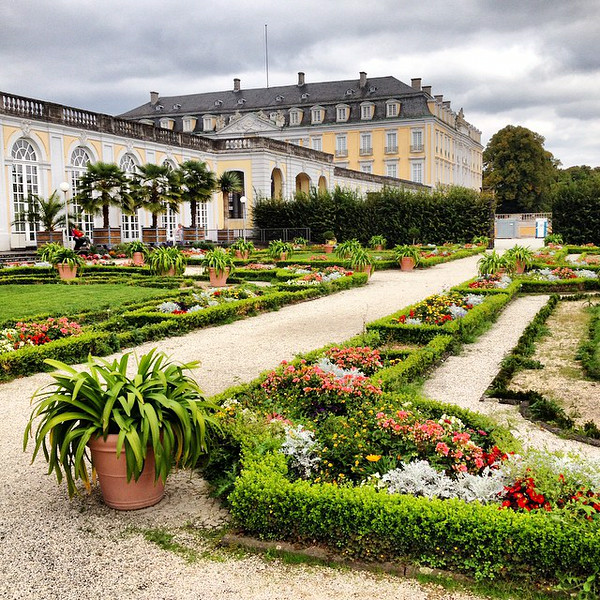 Garden view of Augustusburg Palace as the seasons change. The palace is one of the few intact examples of ideal European noble life in Germany before the onset of the Age of Enlightenment. The pursuit of perfection in the public eye drove its owner, Clemens August, into bouts of depression whereupon he would seek refuge at nearby Falkenlust, his private hideaway. via Instagram http://ift.tt/1t2X9Tw