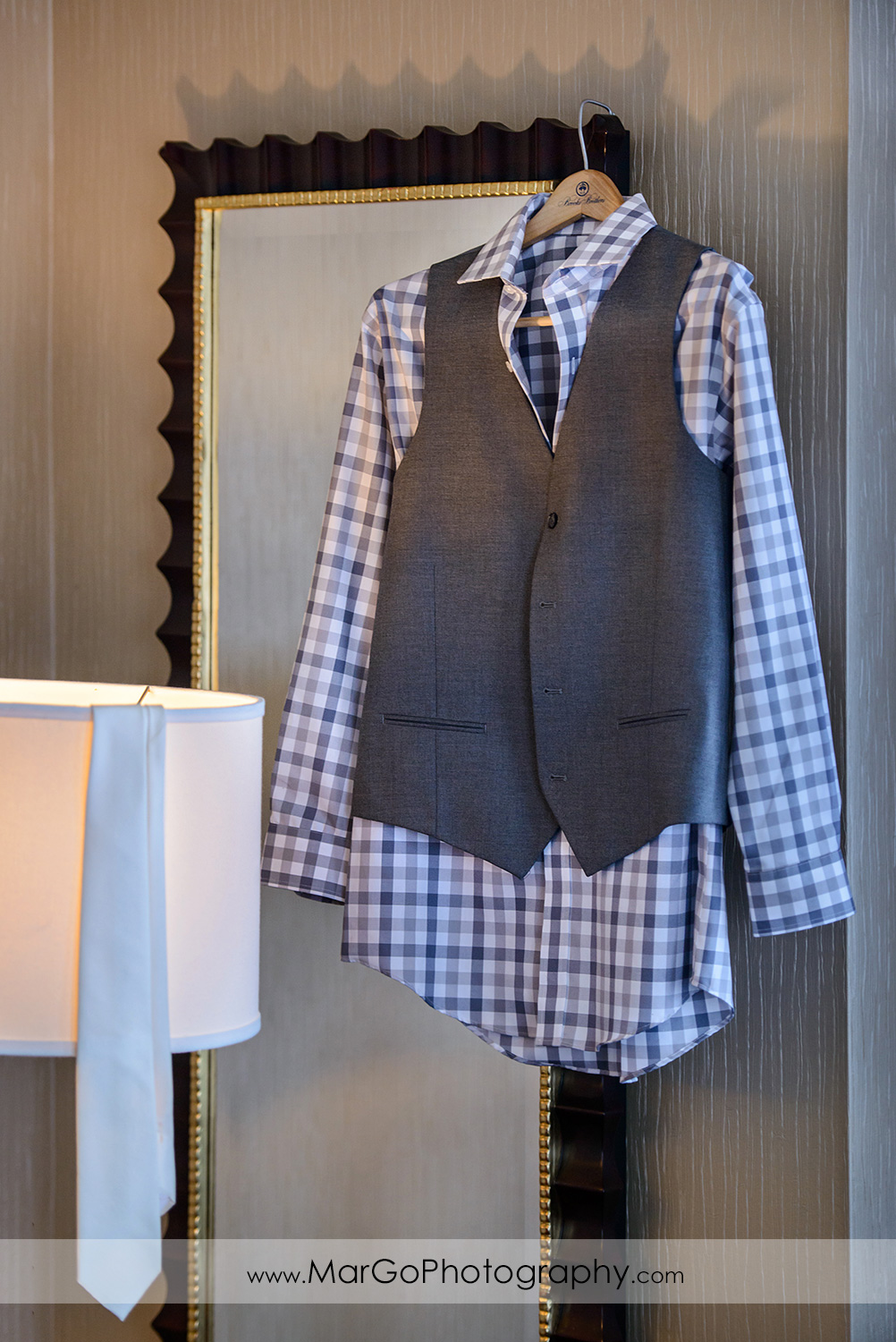 groom's jacket and tie at Juniper Hotel in Cupertino