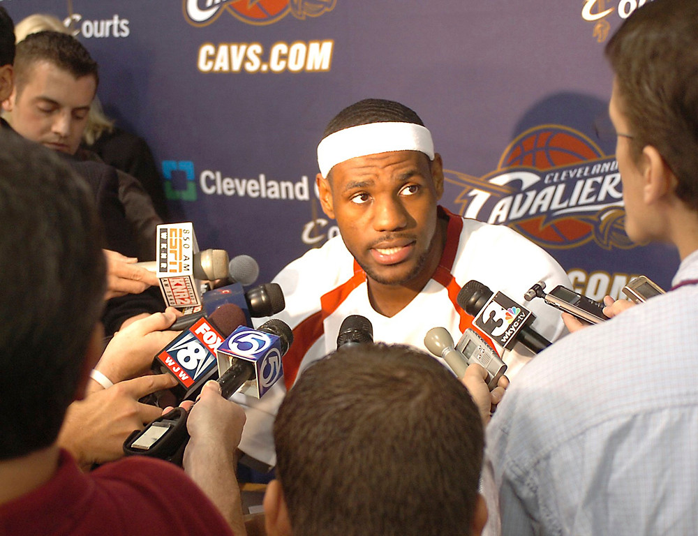 . MORNING JOURNAL/JIM BOBEL Cavalier\'s LeBron James is surounded by the media yesterday during the Cavaliers media day.
