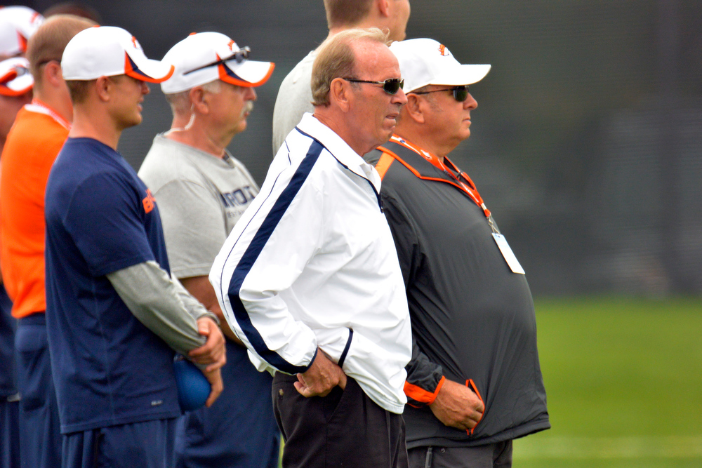 . Denver Broncos Owner Pat Bowlen looks on from the sidelines during training camp July 29, 2013 at Dove Valley. (Photo By John Leyba/The Denver Post)