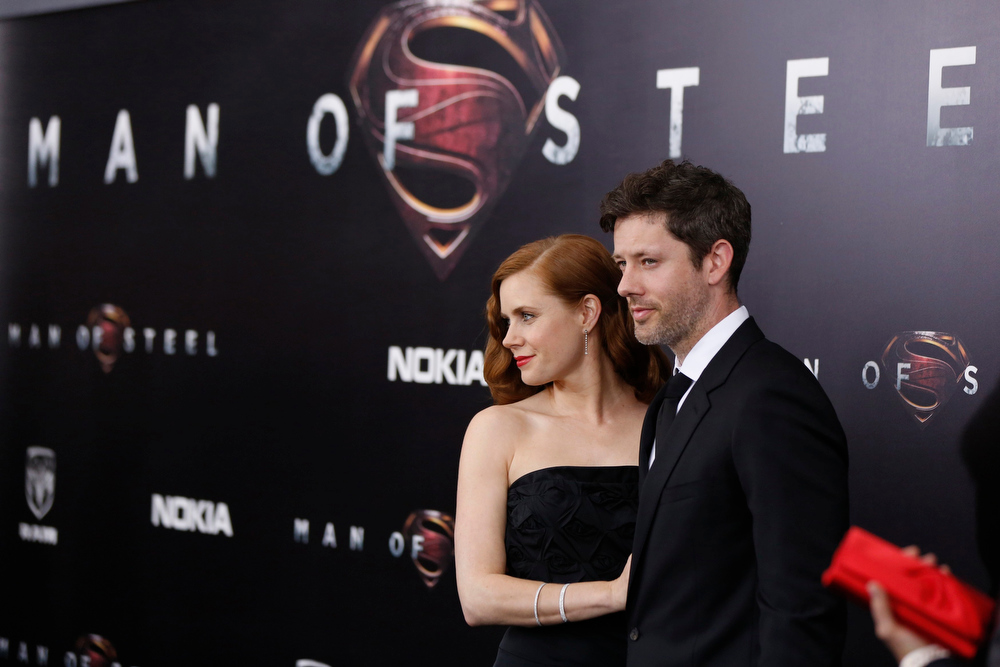 """. Cast member Amy Adams arrives with actor Darren Le Gallo for the world premiere of the film \""""Man of Steel\"""" in New York June 10, 2013. REUTERS/Lucas Jackson"""